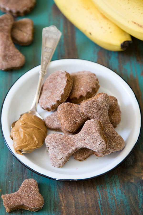 Peanut Butter Banana Dog Treats on a plate