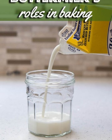 Pouring buttermilk into a glass jar