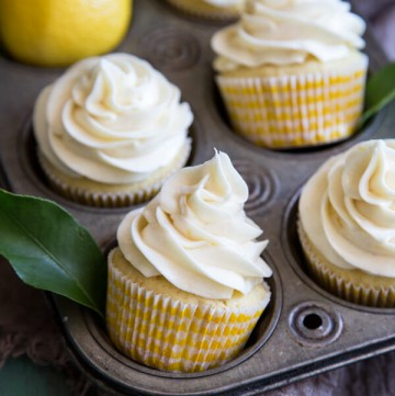 Lemon Cupcakes with Cream Cheese Frosting in a cupcake pan
