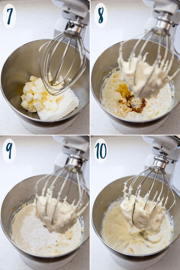 Making lemon cream cheese frosting