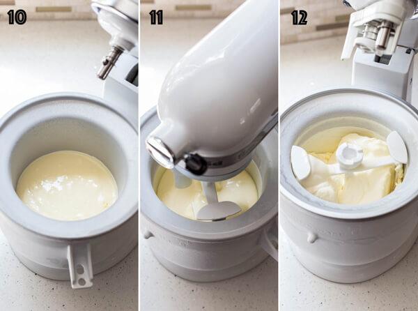 Mascarpone ice cream with rosemary peach sauce | wildwildwhisk.com