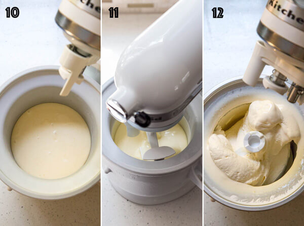 Churning orange mascarpone ice cream