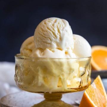Orange Ice Cream in an amber ice cream bowl