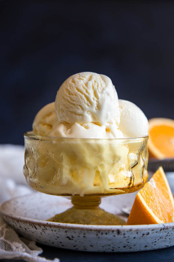 Orange Ice Cream in an amber ice cream bowl