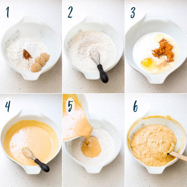 Making pumpkin pancakes batter