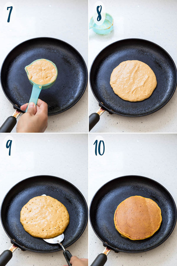 Cooking buttermilk pumpkin pancakes