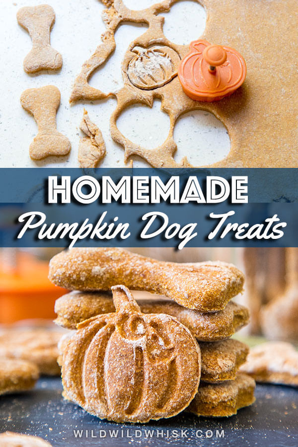 These 3 ingredient homemade pumpkin dog treats are extremely easy to make. Each dog biscuit is packed full of nutritious pumpkin that your pups will love! #wildwildwhisk #pumpkindogtreats