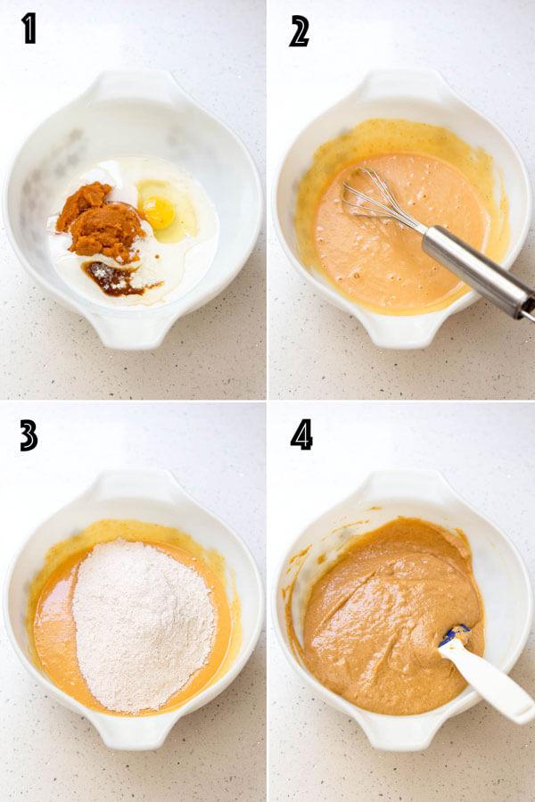 Making pumpkin cupcake batter
