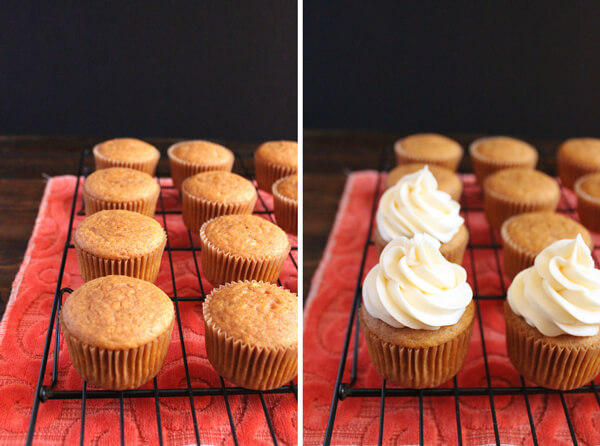 These Pumpkin Pie Spice Cupcakes are the perfect dessert for Fall. And they are topped off with a velvety smooth tangy cream cheese frosting. | wildwildwhisk.com