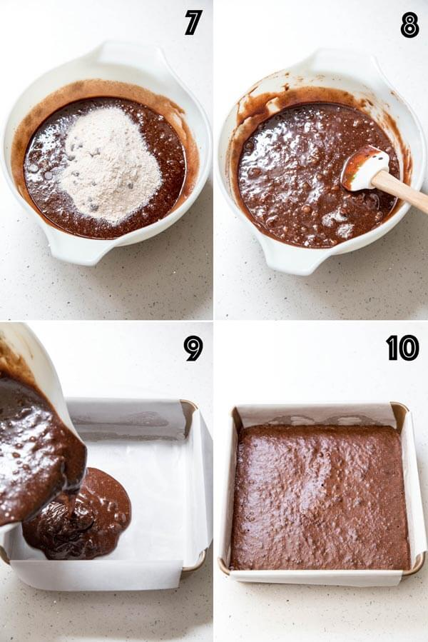 Preparing brownie batter for baking