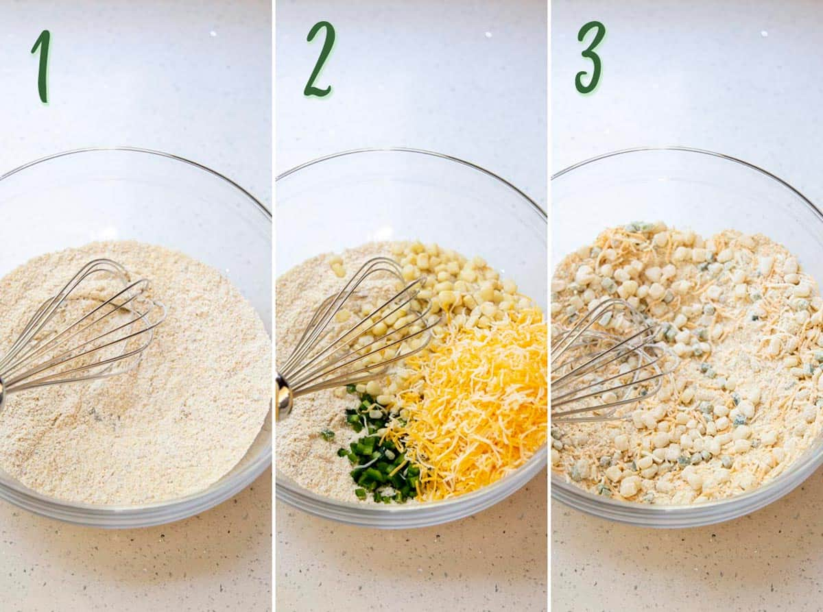 Collage of 3 photos mixing together the dry ingredients for jalapeno cheddard cornbread.