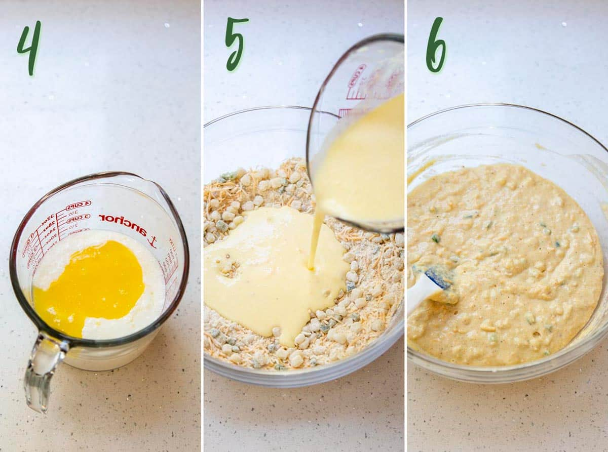 Collage of 3 photos preparing the wet ingredients and mixing with dry ingredients to form cornbread batter.