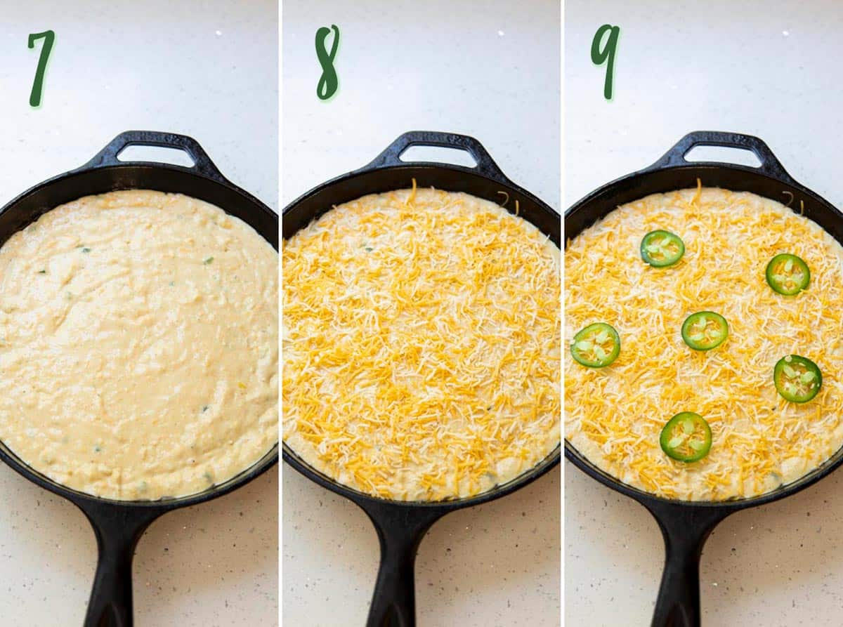 Collage of 3 photos preparing cornbread batter to bake in a cast iron skillet.