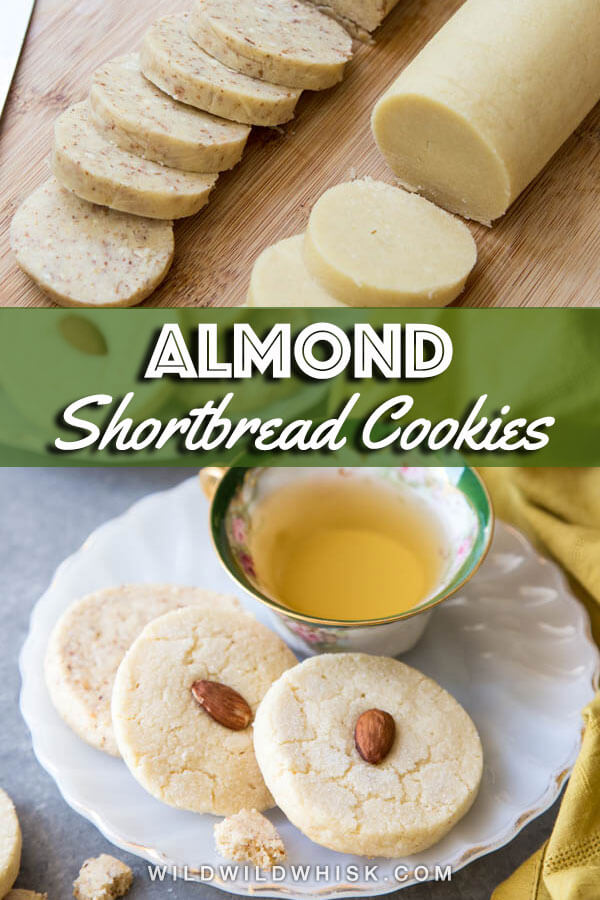 Almond Shortbread Cookies are buttery and slightly nutty with the wonderful scent of pure almond extract. These are the perfect freeze, slice and bake cookies. | wildwildwhisk.com #shortbread #almond #cookies
