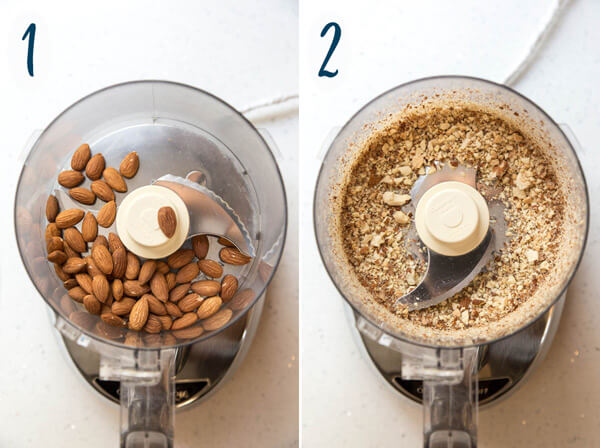 Processing almonds in a food processor