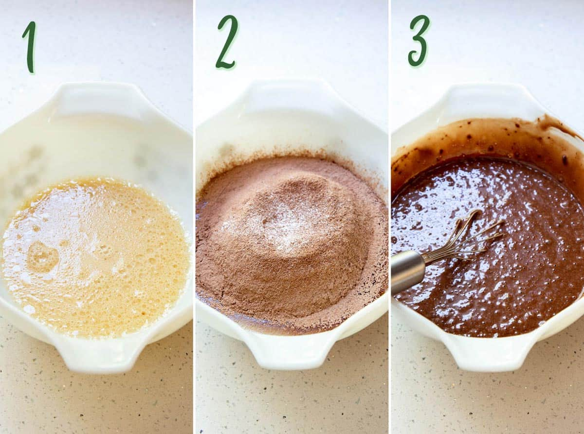 Collage of 3 photos showing how to make chocolate cupcake batter