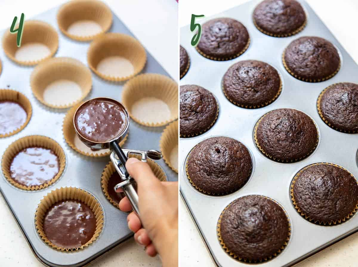 Collage of 2 photos showing cupcake batter being divided, and baked cupcakes in the muffin pan