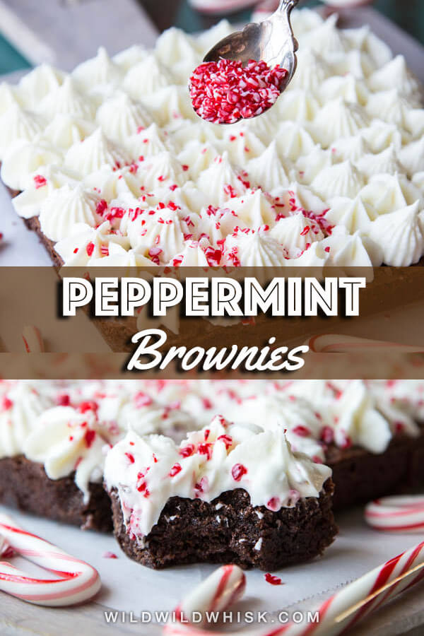 Peppermint Bark Whole Wheat Brownie | wildwildwhisk.com