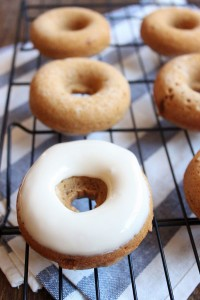Baked Apple Butter Donuts with Maple Glaze | wildwildwhisk.com