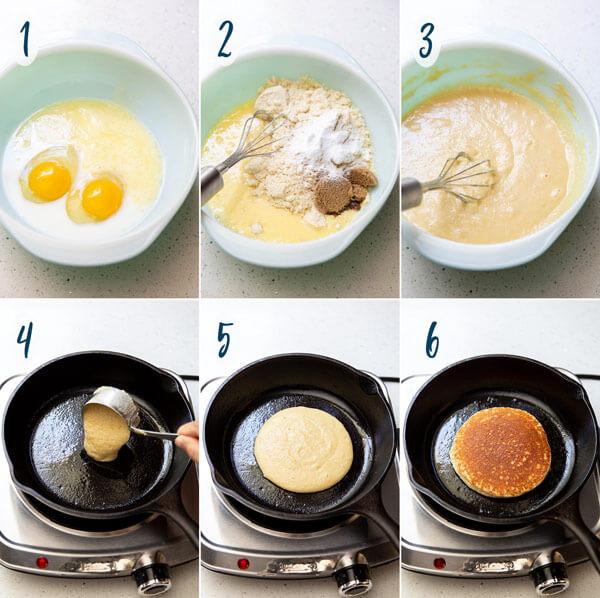 Making almond flour pancakes