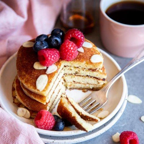A stack of half eaten almond flour pancakes