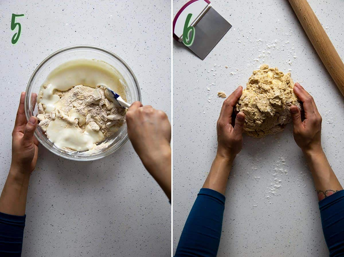 Collage of 2 photos: mixing wet and dry, shaping a shaggy dough.