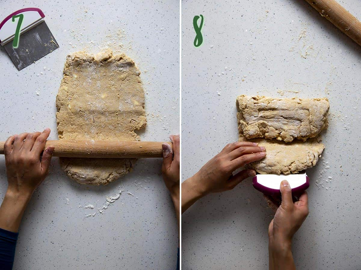 Collage of 2 photos: rolling the dough, folding the dough.
