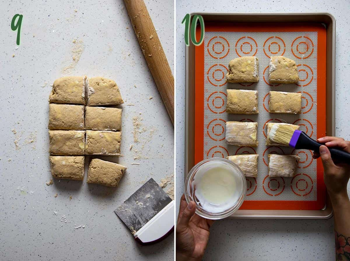Collage of 2 photos: dividing the dough, adding yogurt wash.