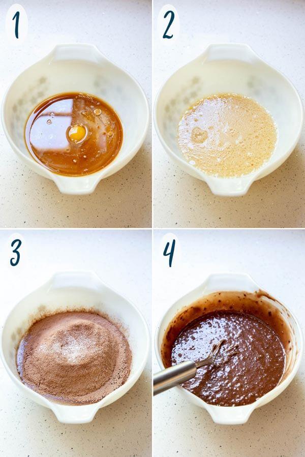 Making chocolate cupcake batter