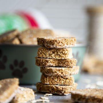 A stack of banana oatmeal dog treats