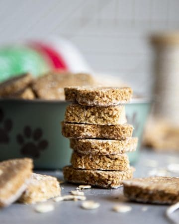A stack of banana oatmeal dog treats