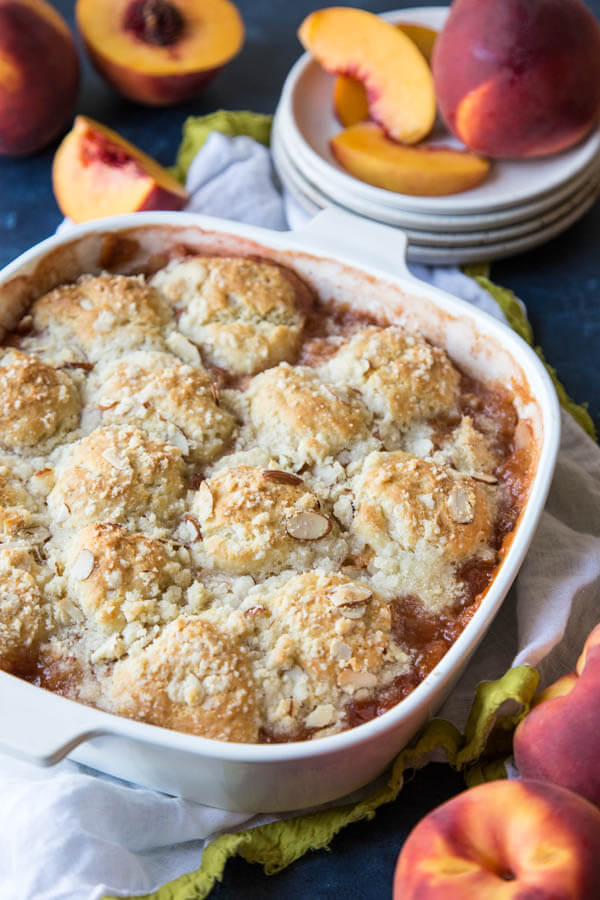 Peach Cobbler with Almond Streusel | wildwildwhisk.com