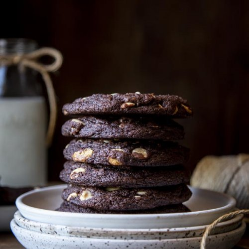 Chocolate White Chocolate Chip Cookies | wildwildwhisk.com
