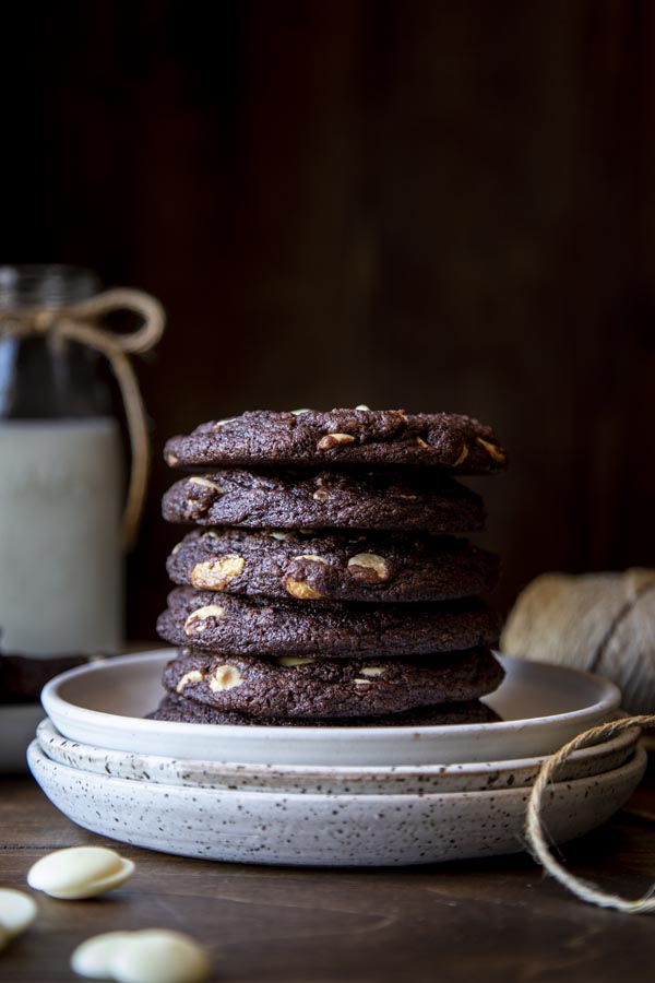A stack of chocolate white chocolate chip cookies
