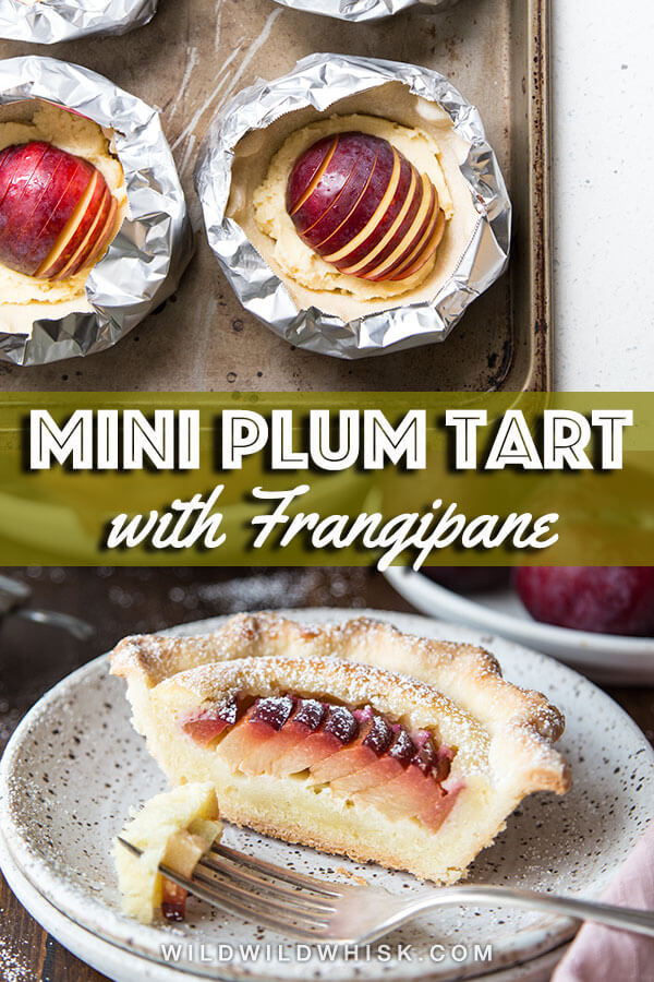Mini Plum Tarts filled with a layer of creamy frangipane and slices of fresh ripe plum is as delicious as it is cute. Each tart is perfect for one or two! #wildwildwhisk #plumtart