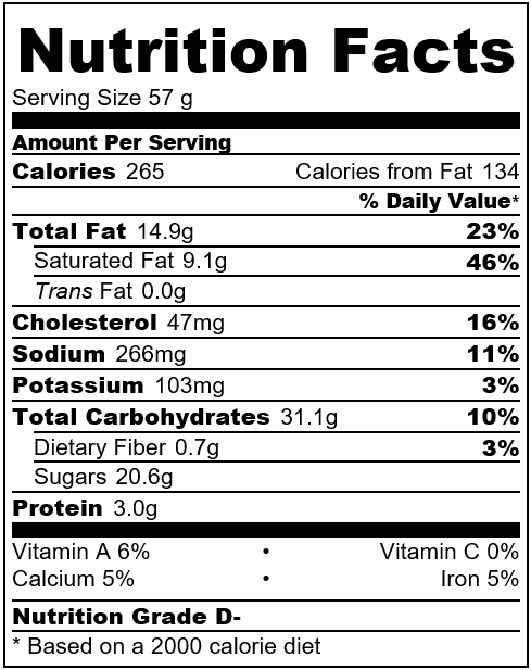Red velvet white chocolate chip cookies nutrition facts