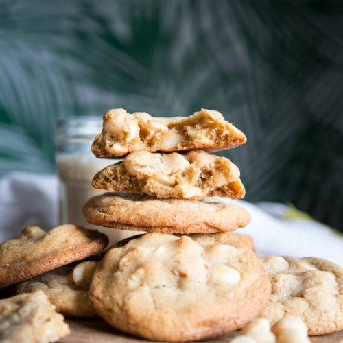 A stack of white chocolate macadamia nut cookies