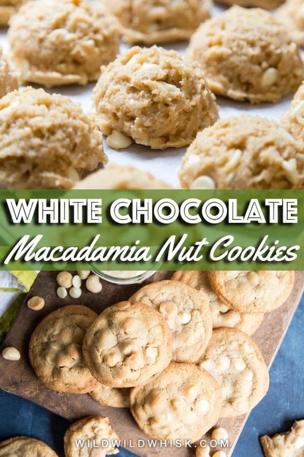 White chocolate macadamia nut cookies pin image
