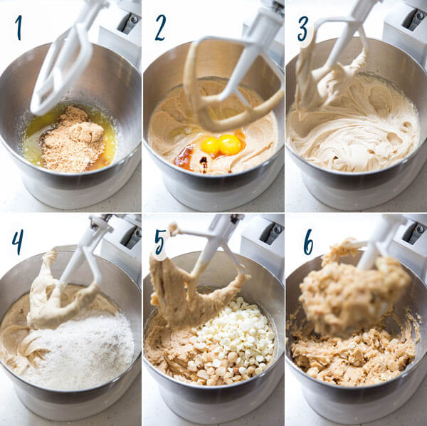Making white chocolate macadamia nut cookie dough in a stand mixer