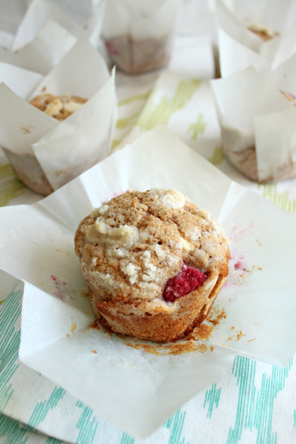 Raspberry White Chocolate Chip Muffins made with Whole Wheat Flour