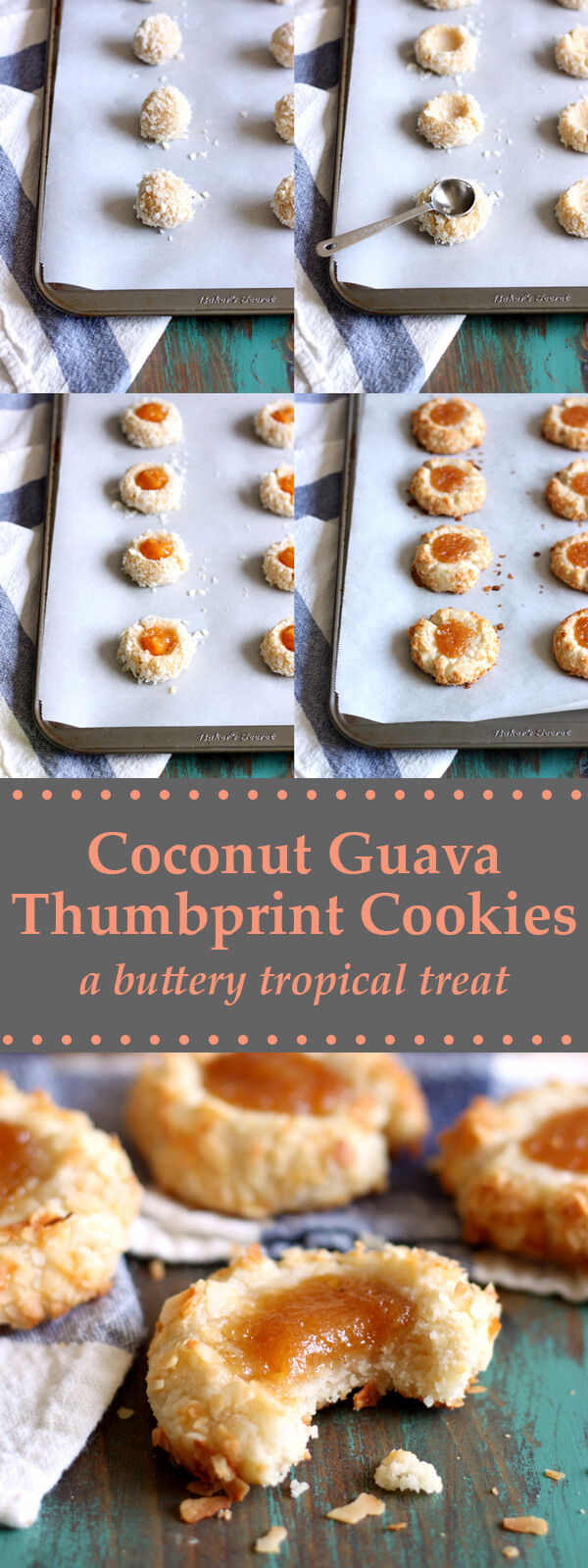 These Coconut Guava Thumbprint Cookies are like buttery little tropical gems covered in coconut flakes and topped with a dollop of guava jam! | wildwildwhisk.com