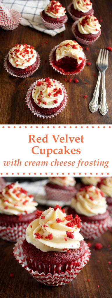 An easy recipe for a slightly chocolaty Red Velvet Cupcakes with Cream Cheese Frosting that is not too sweet, a sure crowd-pleaser! | wildwildwhisk.com