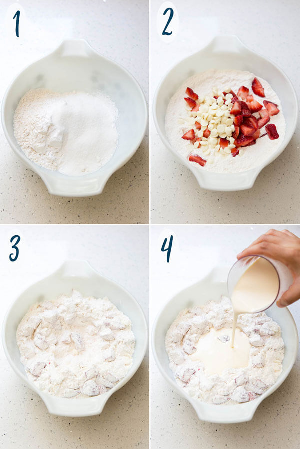 Preparing strawberry scone dough in a mixing bowl