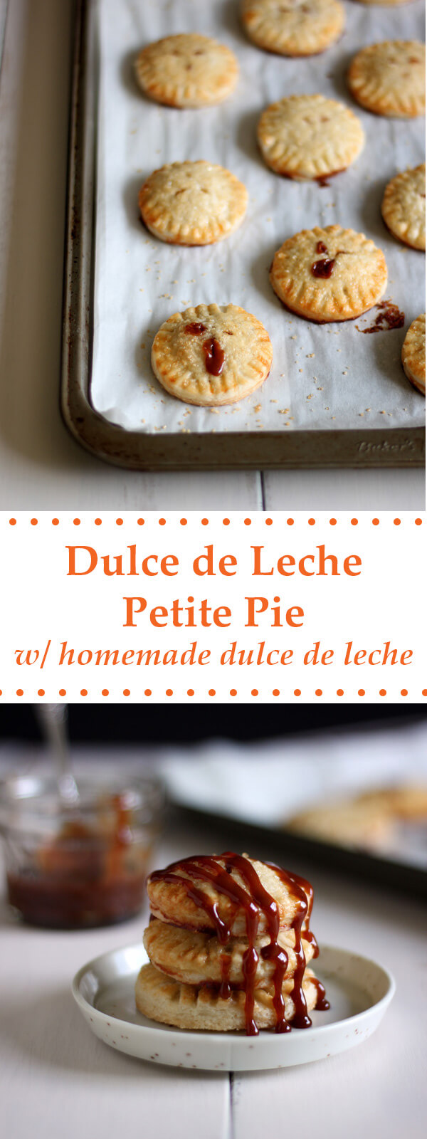 Cute little cookie like Dulce de Leche Petite Pie made with flaky buttery crust and oozing with homemade Dulce de Leche goodness! | wildwildwhisk.com