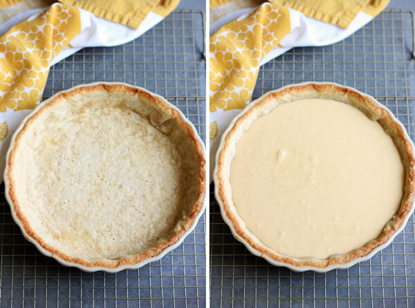 Chess Pie Tart par-baked crust and uncooked filling. | wildwildwhisk.com
