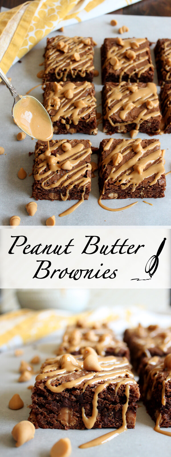These Double Peanut Butter Brownies are rich and chewy, sweet and salty in every single bite, loaded with peanut butter chips and peanut butter drizzle. | wildwildwhisk.com