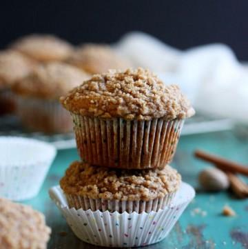 A stack of 2 pumpkin muffins