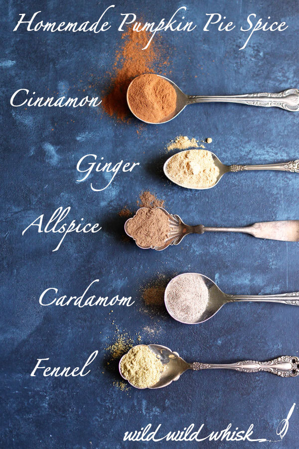 This homemade Pumpkin Pie Spice blend is perfect for all of your Fall's baking needs. The secret ingredient - cardamom - brightens this warm Autumn spice. | wildwildwhisk.com