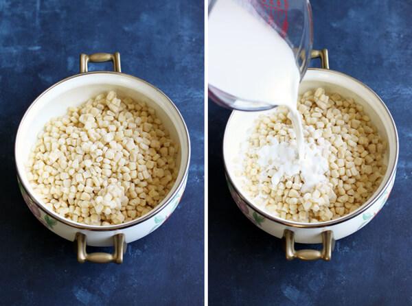 Creamed Corn au Gratin: prep shot | wildwildwhisk.com
