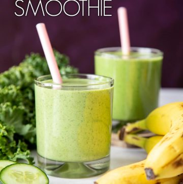 This Banana Peanut Butter Green Smoothie is a tasty and nutritious breakfast or snack, and also perfect for peanut butter lover! | wildwildwhisk.com